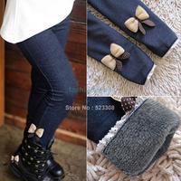 2014 Kids Girls Jean Bow Pants, Cotton Cashmere Pants, Elastic Waist Legging Warm Pants Winter Wholesale 18861