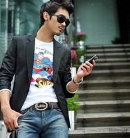 New 2014 Casual Men Slim Fit Long Sleeve Formal Black One Button Blazers S/M/L/XL/XXL  38