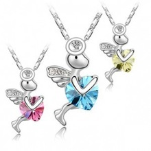 Crystal accessories crystal angel heart necklace Eros b153
