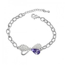 2014 Brand New Fashion Silver Plated Crystal Honey Love Charm Bracelets Bangles Birthday Gift Jewelry For