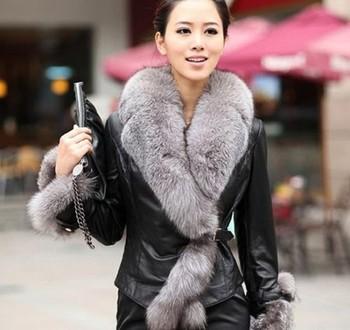 Высокое качество новинка большой меховой воротник куртки женщин тонкий верхняя одежда ...