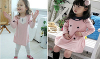 2013 Korea fashion baby girls dress cute pink color 3 - 8 years children's princess dress on sale kid's dress B076 free shipping
