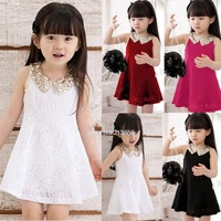 Lovely Girls Dress Summer 2014 Baby Kids Sequins Collar flower Sleeveless Vest Lace Princess Dress Black White Red Rose#3SV00088