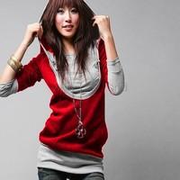 New fashion Korea Women's Long Sleeve Cotton tops dress Hoodie coat Warm Zip Up Outerwear Sweatshirts 3 Sizes hot sale 2312