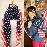 2014 Fashion Chiffon American Flag Pattern Ultral- Wide Scarf USA Flag Scarf Wholesale FreeShipping