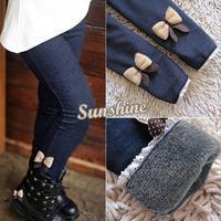 Cheap Kids Jean Bow Pants Cotton Pants Elastic Waist Warm Pants Girls Winter Legging 18861
