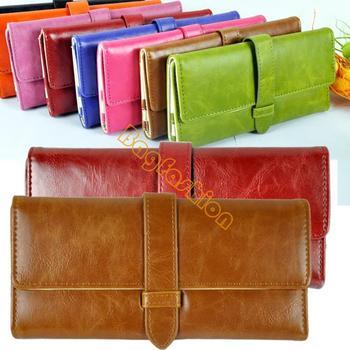 promotion 2013 popular women wallets leather Purse Clutch bag Handbag card Holder Case for ladies girls drop shipping 5435