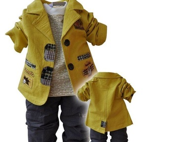 2013 New arrival children's Clothing Sets cotton coat+T-shirt+pants  baby boy/kid three piece sets Freeshiping,  TTT005