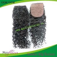 "Fast Shipping Loose Curly Unprocessed Virgin Malaysian Hair Silk Base Closure Hidden Knots 12-18"" in Stock"