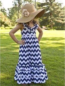 Hot sale!Retail girls dress chevron maxi dresses,adorable cotton chevron Halter dress for summer girl 2 -10 Age kids Beach dress