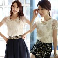Hot Sale Summer Women Chiffon Shirt Lace Tops Beading Embroidery O-Neck Blouse Tops Free Shipping M/L/XL/XXL 20209 Z
