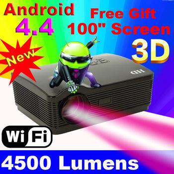 2015 atco quad core android 4.4 wifi astuto 4500 lumen 1080 p 3d full hd lcd home theater tv ha condotto il proiettore projektor video beamer