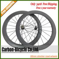 free shipping 50mm clincher light bike wheelset 700c rims carbon fiber road racing bicycle wheels carbon wheels