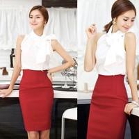 Women's Slim Retro Casual High Waist Bag Hip Knee Length Office Lady Pencil Skirt B2 13810
