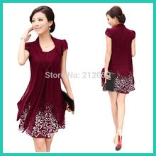 High quality! New 2015 summer women's casual style plus size 5XL elegant  pretty ladies dress knee length chiffon print  dresses(China (Mainland))