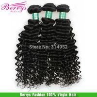 "Brazilian Virgin Hair Deep Wave Curly 3pcs/lot (12""-30"") Unprocessed Human Hair Extension Berrys remy Hair Weave Best Selling"