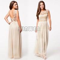 New Fashion Lace Dress Women Backless Crochet Chiffon Long Dress For Summer b6 CB027902