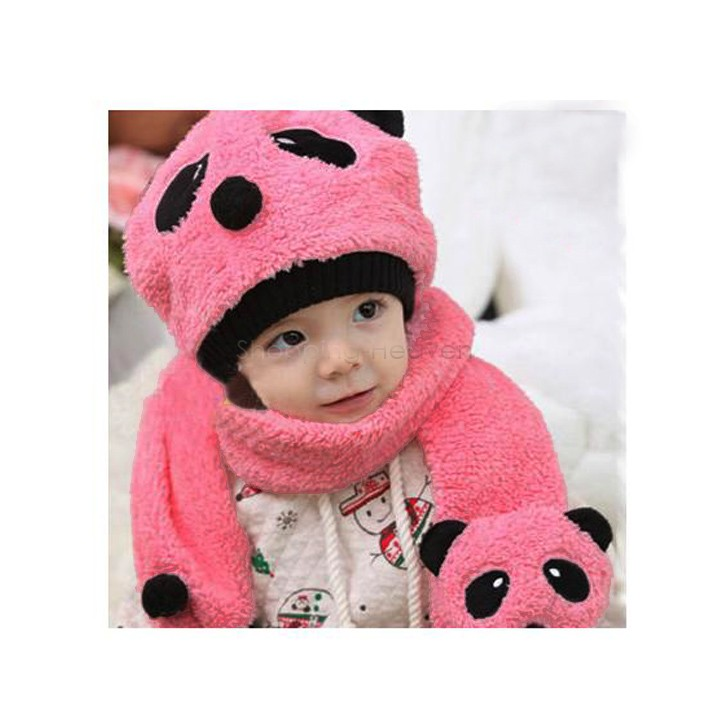 Retail 2014 Winter Warm Children Wool Panda Cap Match Scarf Cartoon Hat with Scarf 4 colors on sale 38(China (Mainland))