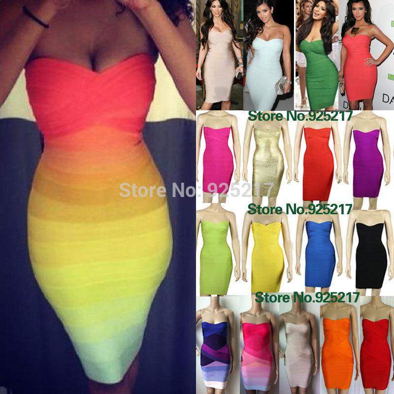 kim kardashian strapless HL 2013 women elastic knitted sexy bodycon bandage dress celebrity dress white/rainbow cheap wholesale(China (Mainland))