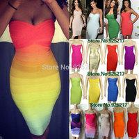 kim kardashian strapless HL 2013 women elastic knitted sexy bodycon bandage dress celebrity dress white/rainbow cheap wholesale