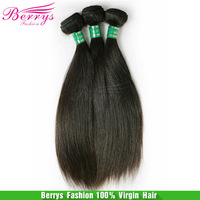 """6A Brazilian straight virgin hair thick and soft bundles hair extensions3pcs/lot 8""""-34"""" unprocessed  Berrys  hair products"""