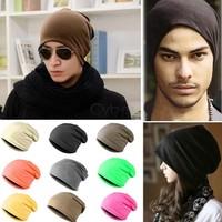 Hot Sale 2013 New Fashion Winter Men Women Solid Color Elastic Hip-Hop Cap Beanie Hat Slouch 9 Colors One Size 18280