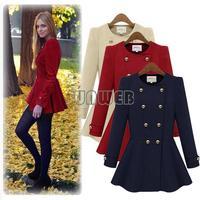 2014 Hot casacos femininos dresses Woolen coat Double breasted Thick coat Woman Jacket long-sleeve Coats outerwear b6 SV005242
