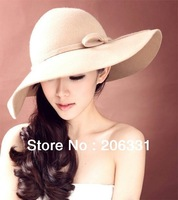 Clearance !!wholesale 100% wool Women Fedoras Hofn's hat Weekender Floppy Hats For women a wide brim Free Shipping