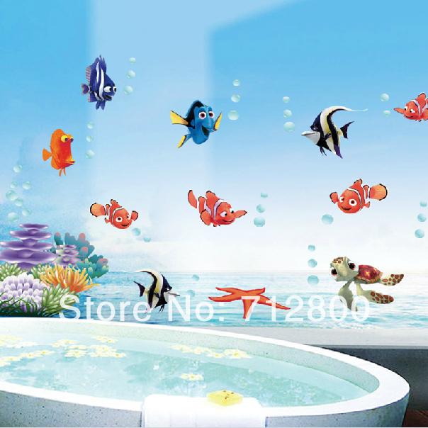 Cancion Infantil Baño De Burbujas:Kids Fish Bathroom Wall Decor