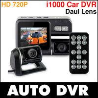 HD i1000 720P Dual Lens Dashboard Car vehicle Camera Video Recorder DVR CAM G-sensor.Free shipping