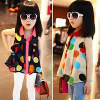 2014 Summer Girl's Turn-down Collar Large Dot Chiffon Sleeveless Shirt Childern's Casual Cute Dresses Kid's T-shirt GD003