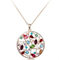 Gorgeous Colorful Austrian Crystal Necklace,18K Gold Plated,High Quality Rhinestone