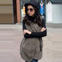 Hot sale fashion Korea Women's Casual Elegant Warmer Bushy Hoodie Long Vest Coat Hot 5 Colors B26 7669