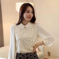 2014 Korean pearl round neck women's chiffon clothing sexy lace base shirt   M-XXL size clothing white blouses