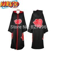 HOT Anime NARUTO Cosplay Costumes Akatsuki Ninja Uniform / Cloak---(S/M/L/XL/XXL Size) HOODED