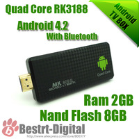 New Smart Android TV Box MK809 III with Bluetooth XBMC DLNA RK3188 Quad Core up To1.4 Ghz Android 4.4.2 Mini PC 2GB+8GB
