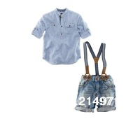 Free shipping fashion baby boy 2 pcs set casual shirt + jeans with braces gentleman baby clothing set 6sets/lot
