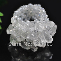 Free shipping Elastic White Crystal Bead Finger Ring Stretch Size 7-9 X015