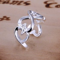 Free Shipping 925 Sterling Silver Ring Fine Fashion Opening Heart Ring Women&Men Gift Silver Jewelry Finger Rings SMTR091