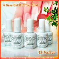 6Pcs Foundation Gel/Base Coat + 6Pcs Sealer Gel/Top Coat 15ml Professional China Soak Off UV Nails Polish Set Hot Sell 12Pcs/Lot