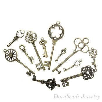 Free shipping Mixed Antique Bronze Key Charms Pendants 33x13mm-69x20mm, 24Pcs (B13922)