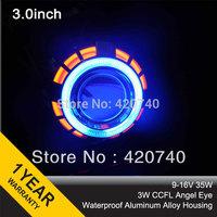 "3.0HQT 3.0"" inch Double Angel Eye HID Bixenon Xenon Projector Lens LHD RHD H1 H7 H4 HB3 HB4 9004 9007 Headlight+2pcs AC Ballast"