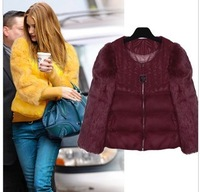 free shipping 2012 design slim short down coat female rabbit fur patchwork fashion fur Down jacket   retail