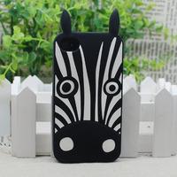 Marc Creatures Fashion 3D Cartoon Cute Cat Dog Owl Zebra Rabbit Silicone Case for iPhone 4 4G 4S 5 5G 5S  1pcs/lot