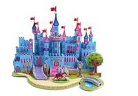 The 3D puzzle Educational Toys for Children diy house Paper assembling model - blue castle