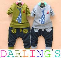 Retail Children's clothing boys sport suits fashion tie Print Clothes Set  kids long sleeve Tshirt + pants 2-5Y Free shipping