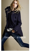 2013 New ZA**Fashion Coat Winter Women's Wool&blends Long Jacket Ladies' Horn Button Overcoat #SX8766