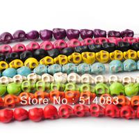 Wholesale Beads 2014 Fasion turquoise stone loose Skull beads Fit shamballa Bracelets diy beads jewelry making 400pcs  8*10mm