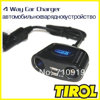 Tirol T16248a 4-Way Cigarette Socket Splitter Dual USB 2.1A +150W Twin Sockets Car Charger For iPad&Digital Device Free Shipping