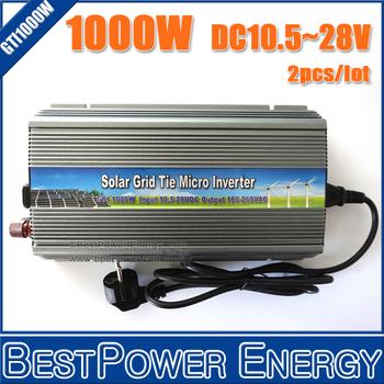 2PCS X 1000W 1KW Pure Sine Wave Inverters, On Grid Inversor DC10.5-28V Grid Tie Inverter Suitable for 1250W 18V Solar Panels
